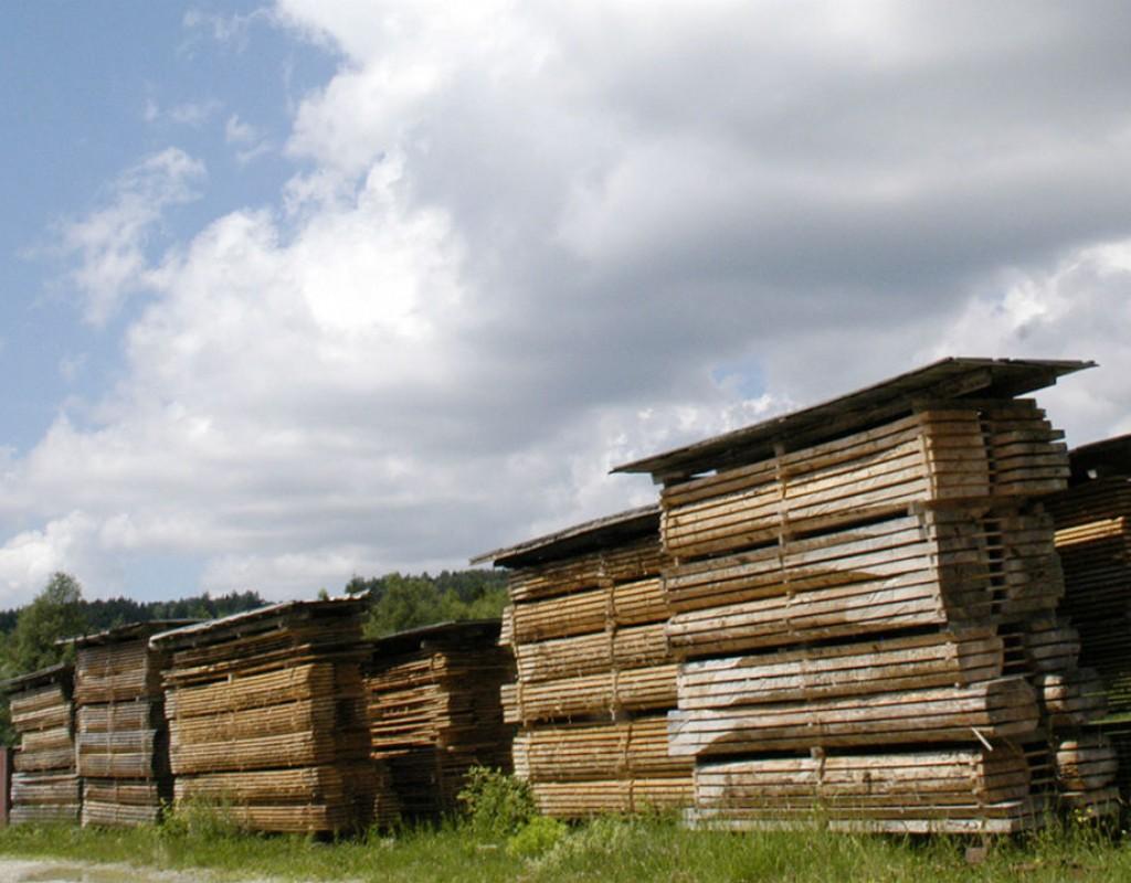 Holzstapel im Saegerwerk